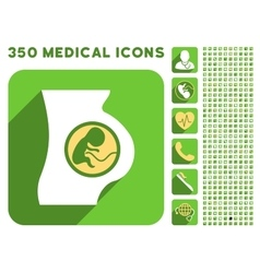 Pregnant woman anatomy icon and medical longshadow vector