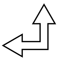 Choice arrow left up outline icon vector