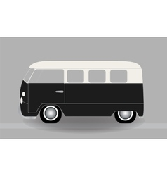 Cartoon cheerful minibus which travels on the vector