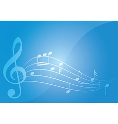 Blue music background with notes vector