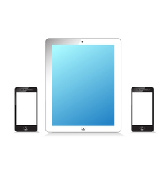 Black and white modern tablet phone on white vector
