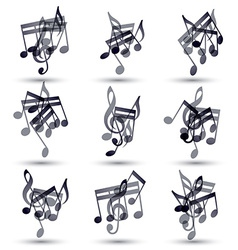 Black musical notes and symbols isolated on white vector