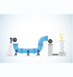 Businessmen holding pipelines to transporting ball vector