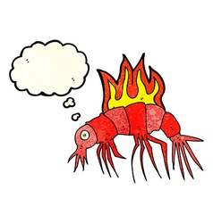 Cartoon hot shrimp with thought bubble vector