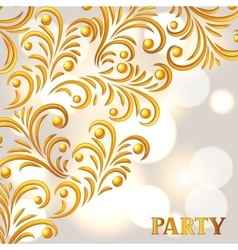 Celebration party background with golden ornament vector image vector image