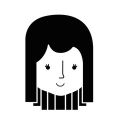 contour happy woman head and nice face vector image