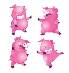 cute pig character actions vector image