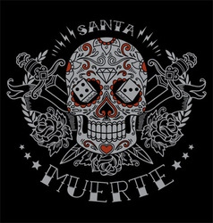 Day of the Dead skull and sword graphic vector image vector image