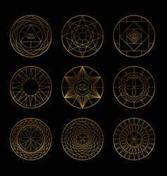 esoteric geometric gold pentagrams vector image