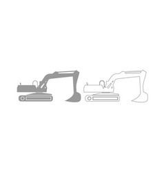 Excavator grey set icon vector