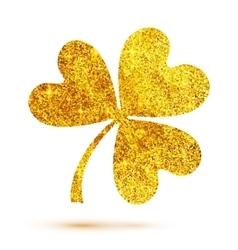 Golden shining glitter glamour clover leaf on vector image vector image