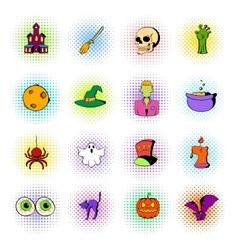 Halloween set icons comics style vector image