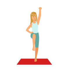 Happy blond girl doing fitness exercises on a red vector