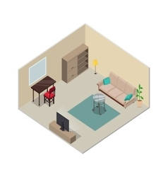 Isometric interior design living room furniture vector