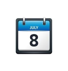 July 8 Calendar icon flat vector image vector image