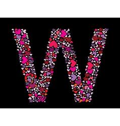 letter w valentine alphabet vector image