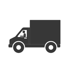 Man truck delivery transport figure pictogram vector