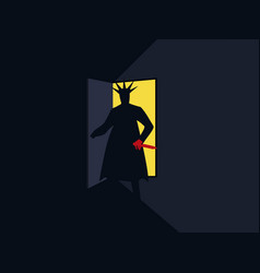 murderer with the knife behind the door vector image