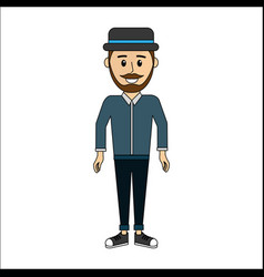 people man with casual cloth and hat avatar icon vector image