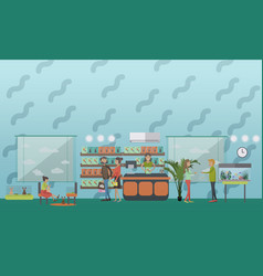 pet shop concept in flat style vector image vector image