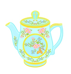 Porcelain teapot with floral pattern part tea serv vector