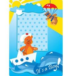 Portrait border with teddy bears for a baby boy vector