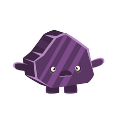 purple puzzled rock element cartoon emotions vector image vector image