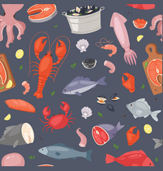 Seafood sea fish shellfish and lobster on vector