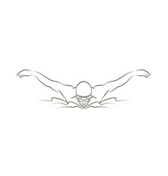 swimming butterfly man swimming outline vector image