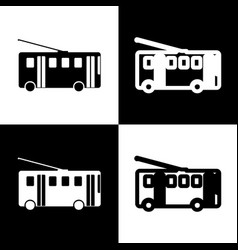 Trolleybus sign black and white icons and vector