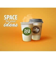 Two cups of hot coffee and tea on a yellow vector image vector image