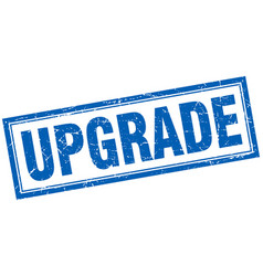Upgrade blue square grunge stamp on white vector