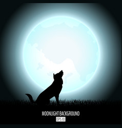 wolf howls to midnight fool moon abstract vector image vector image