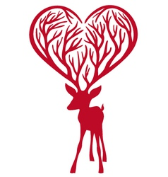 Deer with heart vector