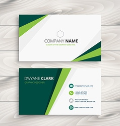 Clean green visit card vector
