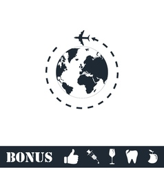Around world icon flat vector image