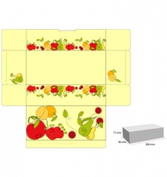 Template for box with fruit vector