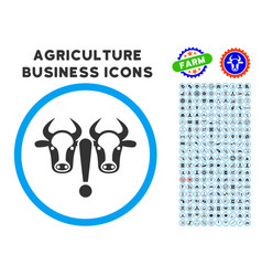 Cow problem rounded icon with set vector