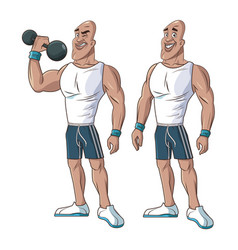 Healthy men athletic muscular weight vector