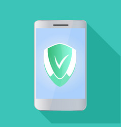 A smartphone with a shield  antivirus concept vector
