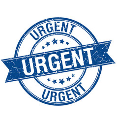 Urgent grunge retro blue isolated ribbon stamp vector