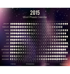 2015 Moon Phases Calendar vector image vector image