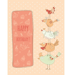 Doodle birthday card with birds vector