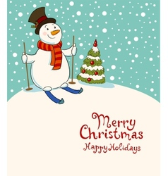 The snowman on skis cozy retro christmas card vector