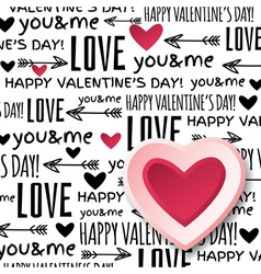 Background with red valentine heart and wishes tex vector