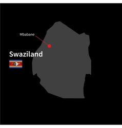 Detailed map of swaziland and capital city mbabane vector