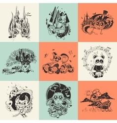 Set of nine with hand drawn vector image