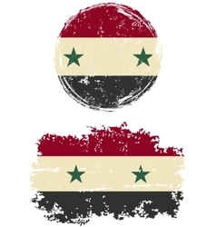 Syrian round and square grunge flags vector