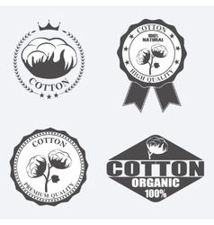 Cotton labels stickers and emblems vector