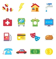 Monthly expenses costs flat icons vector